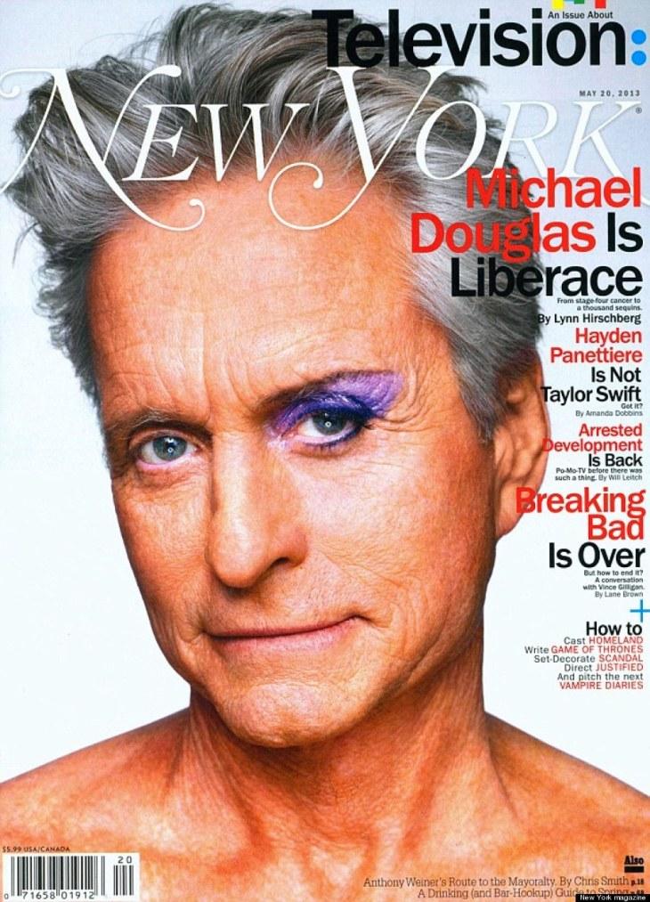 Michael Douglas wears eye make-up on cover of 'New York' magazine