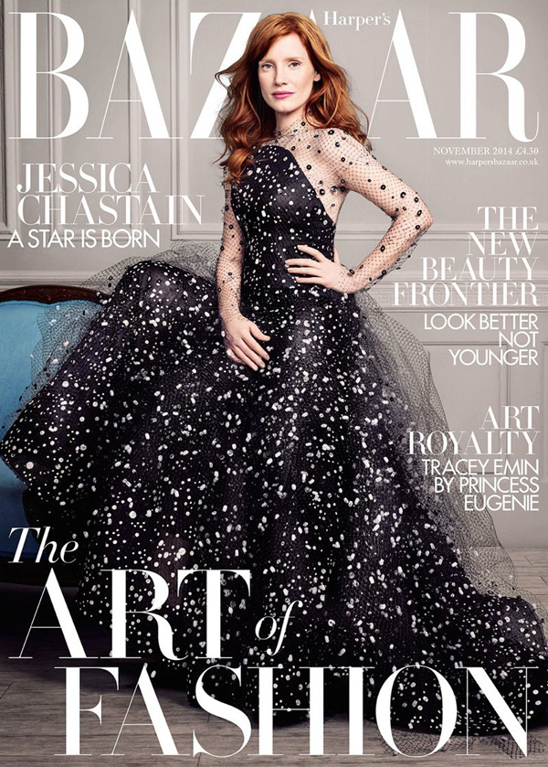 Jessica Chastain by David Slijper for Harper's Bazaar UK Nov 2014