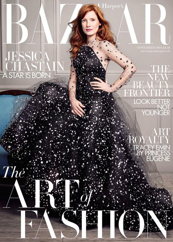 Jessica Chastain by David Slijper for Harper's Bazaar UK Nov 2014