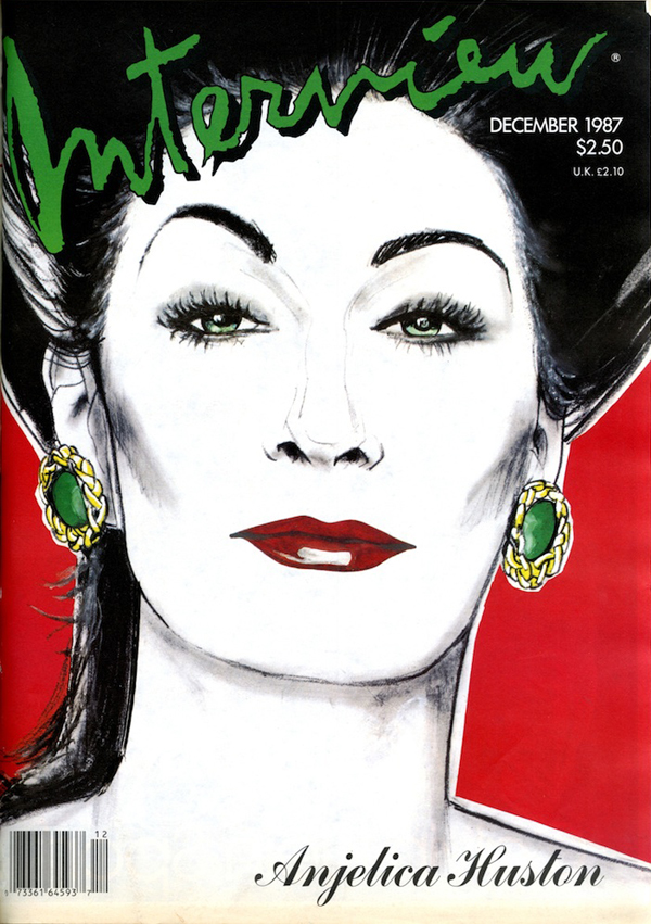 Anjelica Huston by Richard Bernstein for Interview Dec 1987