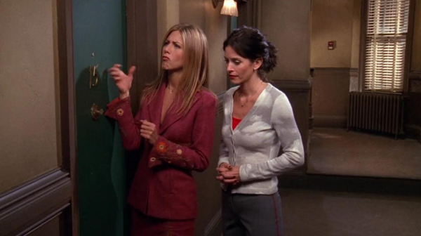 Rachel in embroidered suit