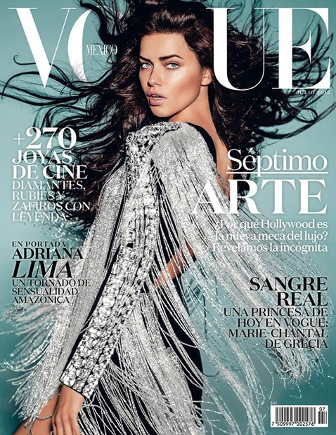 Adriana Lima by Russell James for Vogue Mexico July 2015 Cover