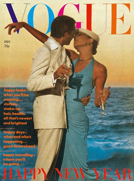 Anjelica Huston+Manolo Blahnick by David Bailey for Vogue UK January 1974