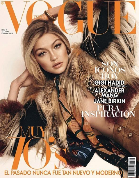 Gigi Hadid by Benny Horne for Vogue Spain March 2015 Cover
