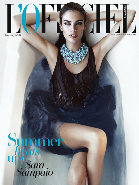 Sara Sampaio by Jack Waterlot for L'Officiel Singapore June July 2015 Cover